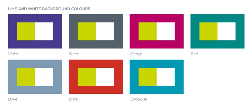 Seven examples of colour combinsations