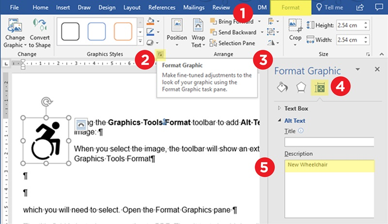 Word screen showing step by step method to add Alt text to an image