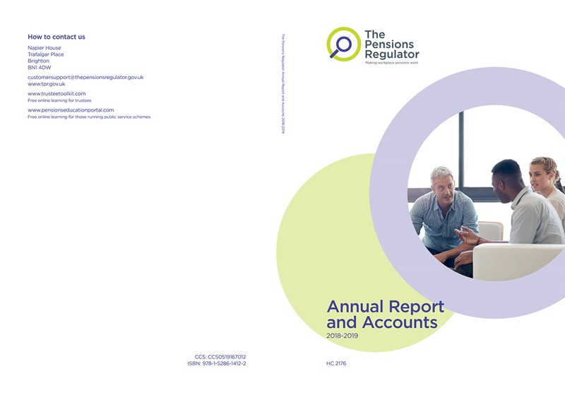 An example of a front cover of the annual report and accounts