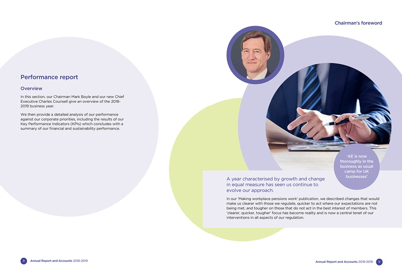An example of an inner spread from the annual report and accounts