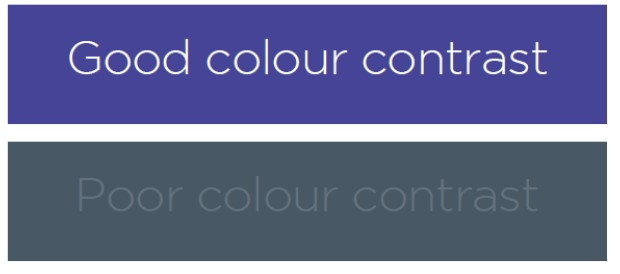 Colour contrast examples one good and one bad