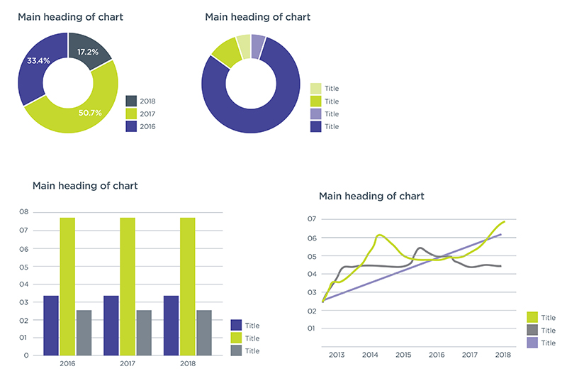 An example of charts using primary colours and their tints